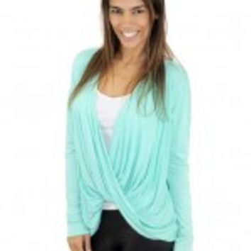 Mint Wrap Top With Lace Back