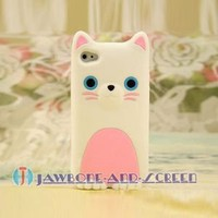 White Cute Animal Cat Pink Abdomen Silicone Skin Case Cover for iphone 4 4S +LCD