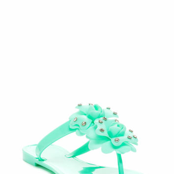 Double Rose Jelly Sandals