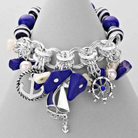 Nautical Anchor Blue And Silver Stretch Bracelet