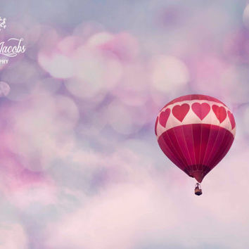 I Love You to the Moon and Back, Hot Air Balloon Photograph, Photo, Valentines Day, Romantic, Nursery, Baby Girl, 8x10, Hearts, Pink, Dreamy