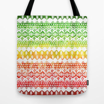 One Love Tribal {white} Tote Bag by Schatzi Brown