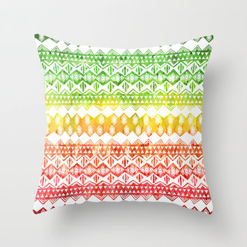One Love Tribal {white} Throw Pillow by Schatzi Brown