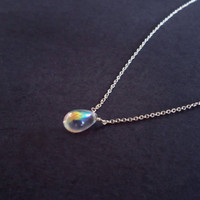 gorgeous pure transparent water drop sterling silver necklace