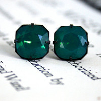 Palace Green Opal Swarovski Crystal Earrings, Cushion Cut, Square, Estate Style, Dark Oxidized Brass, Holiday Gifts For Her