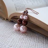 Pink and Brown Pearl Earrings