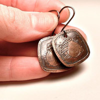 Acorn Earrings Etched in Copper