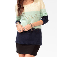 Colorblocked Pointelle Sweater