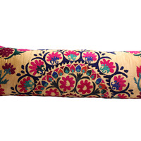 Sunflower Yellow Suzani Body Pillow