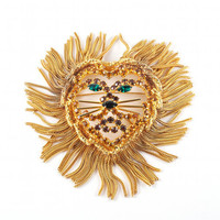 Vintage Lion Brooch Pin Gold Swarovski Crystal Style Emerald Eyes African Big Cat
