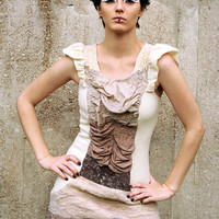 Dress made of ombre tights and merino wool felt in neutral colors /// Made to order ///