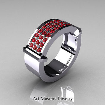 Gentlemens Modern 14K White Gold 33 Stone Rubies Ring MR184-14KWGR