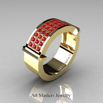 Gentlemens Modern 14K Yellow Gold 33 Stone Rubies Ring MR184-14KYGR