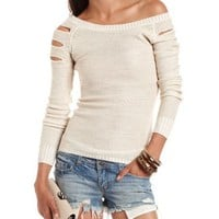 Slashed Sleeve Lurex Sweater: Charlotte Russe