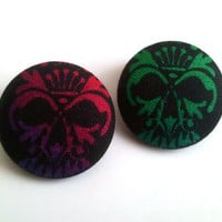 Colorful ombre skulls halloween inspired button earrings