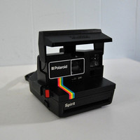 One Step 70s 80s Polaroid Camera Black Rainbow Design