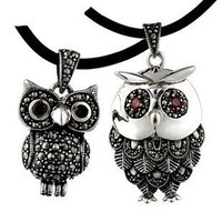 Sterling Silver Retro Thailand Similar Owl Pair of Necklace - Matching Couple Necklaces - Couples Gift Ideas