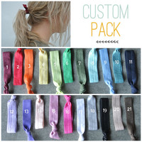 hair tie ponytail holders - custom pack you pick 4 - stretchy no dent no damage fold over elastic ribbon knotted ties
