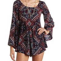 Scarf Print Bell Sleeve Romper by Charlotte Russe - Navy Combo