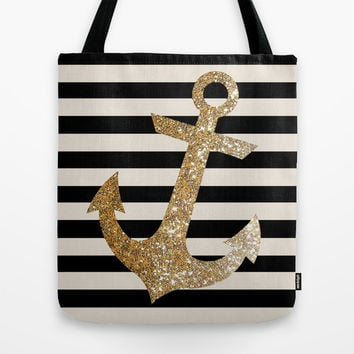 GOLD GLITTER ANCHOR IN BLACK AND NUDE Tote Bag by Colorstudio