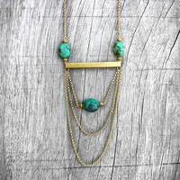 Turquoise Statement Necklace, Geometric Raw Brass Bar, Gold Plated Chain, Avant Garde, Edgy, Minimalist,, Bib, OOAK, Tribal Chic