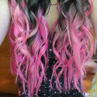 MULTI PINK  // (8)  Dimensional Pink Pastel Hair Extensions // Clip-In // Human Hair