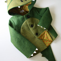 Kids Coat Cheeky Green Dinosaur by littlegoodall on Etsy