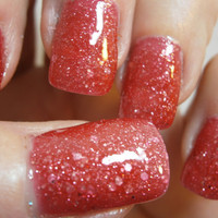 Cherries Jubilee Nail Lacquer -  Juicy Red Jelly Glitter Custom Nail Polish - Full Size Bottle