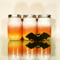 Halloween Painted Mason Jars - Vase - Ombre Candy Corn
