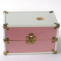 Vintage Pink and White Metal Train Case or Small Toy Doll Case