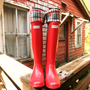 SLUGS Fleece Rain Boot Liners w/ Khaki, Black, Red Plaid Pattern Cuff, Hunter Boot Socks, Fall Winter Fashion (Sm/Med 6-8 Boot)