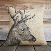 Deer Pillow Cover, Burlap Pillow, Cushion, Rustic, Decorative Throw Pillow, Log Cabin, Woodlands, Accent Pillow, Black and Beige, 16x16