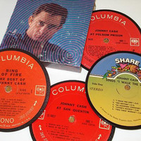 JOHNNY CASH coasters vinyl record coaster set