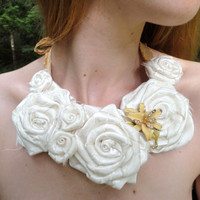 White Roses Bib Necklace, Statement Silk and Satin Flowers