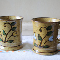 Set of 2 Ceramic Glazed Mugs with Handpainted Floral
