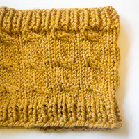 Mustard Cable Knit Cowl - Ready to Ship - Fall Scarf - Knit Cowl - Knit Infinity Scarf