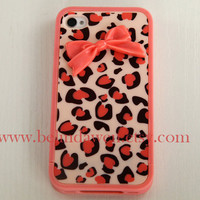 IPhone 4 case, Leopard Decal iPhone 4 Hard Case, cheetah iphone 4 case with pastel pink bow case for iPhone 4 case