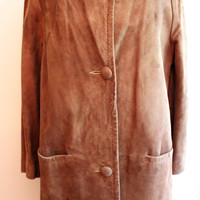 Brown Suede Coat w/ Mink Fur Collar 1960s