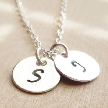 Personalized Jewelry, Two Initials Sterling Silver Charm Necklace, Hand Stamped Circle Necklace, Custom Initial, Unique Gift, Choose Letter