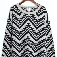 Black and Grey Aztec Print Sweater with Round Neckline