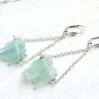 Genuine Sea Glass Suspension Earrings - Seafoam & Blue Leverbacks