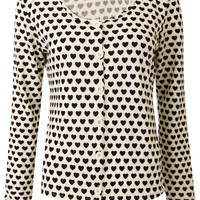 Love Heart Print Long Sleeve Brush Knit Cardigan-Cream and Black