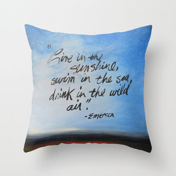 """Birthday gift ... Decorative throw pillows cover  ..from my original painting, """"Live In the Sunshine""""...16"""" x 16"""""""