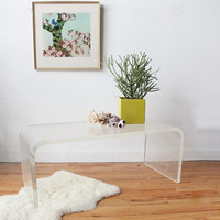 Thick Vintage Lucite Coffee Table
