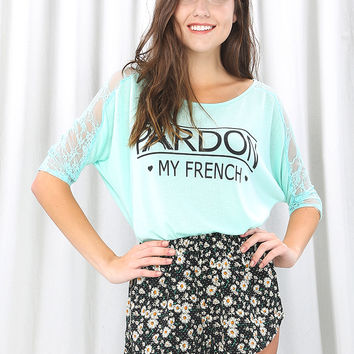 Lacy Sleeve Letter Top
