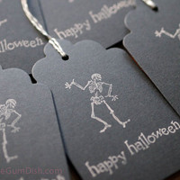 Happy Halloween Hang Tags Black Gift Tags Skeleton 3x5 Set of 6 Hand Stamped Large