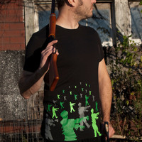 Zombie Halloween Attack men's t-shirt size Large american apparel zombies tee