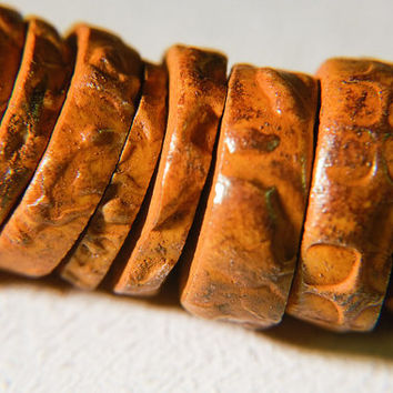 Eight Artisan Rustic Organic Textured Disc Beads - orange and brown - polymer clay - ethnic tribal faux ancient boho primitive