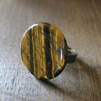 Tigris Cocktail Ring - Iridescent Gold and Brown Tigerseye Coin on an Antique Brass Ring Band - Nature Insprired Stone Gift Under 20