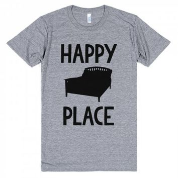 Bed is my Happy Place-Unisex Athletic Grey T-Shirt
